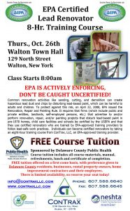 EPA Certified Lead Renovator Class @ Walton Town Hall | Walton | New York | United States
