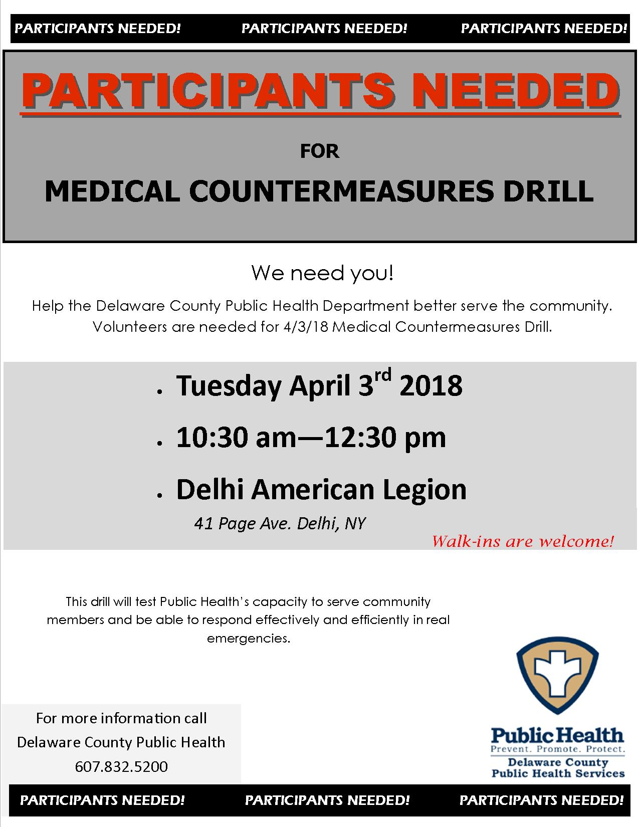 PARTICIPANTS NEEDED  FOR MEDICAL COUNTERMEASURES DRILL